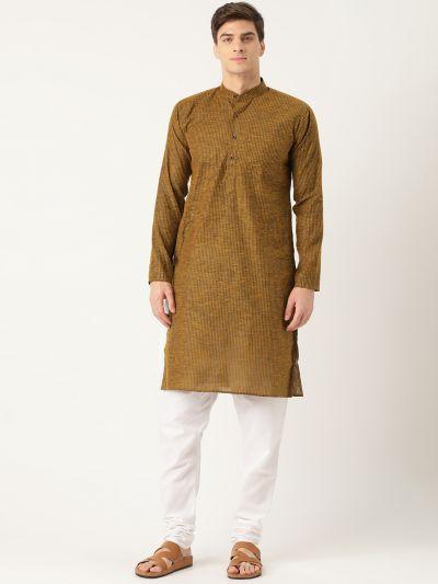 Sojanya (Since 1958), Men's Cotton Mustard Striped Kurta & White Churidar Pyjama Set