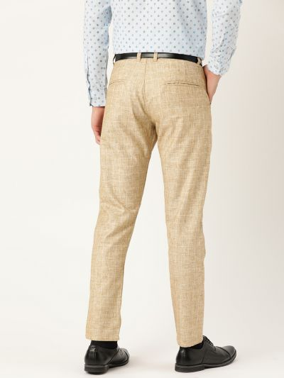 Sojanya (Since 1958) Men's Cotton Blend Khaki & Off White Checked Formal Trousers
