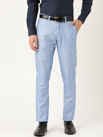 Sojanya (Since 1958) Men's Cotton Blend Blue & Off White Checked Formal Trousers