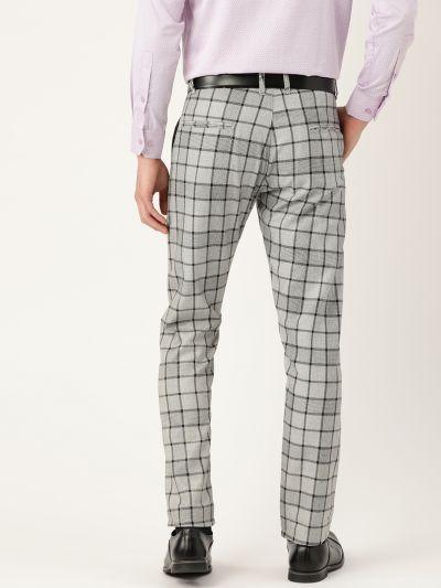 Sojanya (Since 1958) Men's Cotton Blend Grey & Black Checked Formal Trousers
