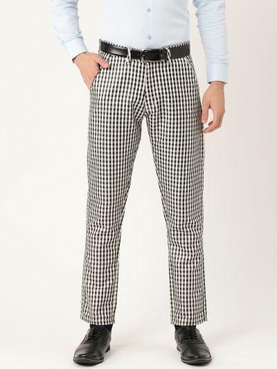 Sojanya (Since 1958) Men's Cotton Blend Black & White Checked Formal Trousers