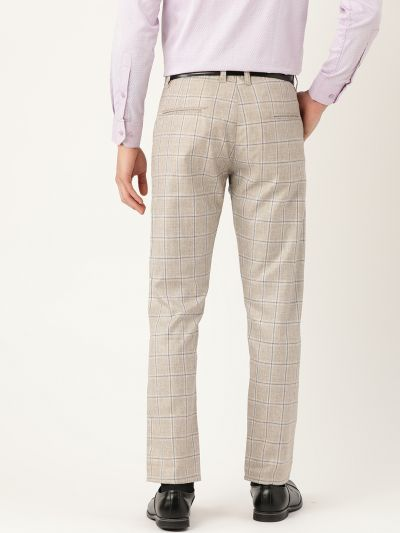 Sojanya (Since 1958) Men's Cotton Blend Light Grey & Navy Checked Formal Trousers