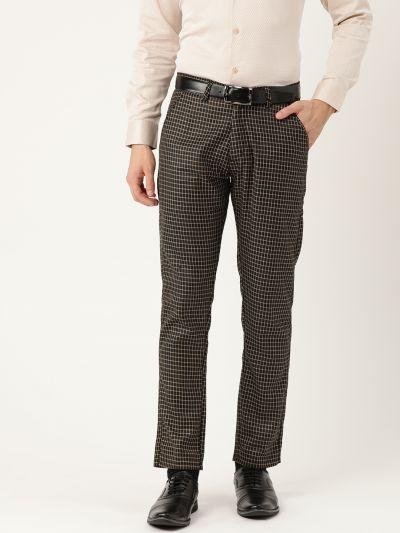 Sojanya (Since 1958) Men's Cotton Blend Black & Beige Checked Formal Trousers