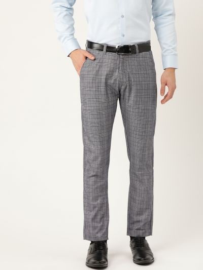 Sojanya (Since 1958) Men's Cotton Blend Navy Blue & Off White Checked Formal Trousers