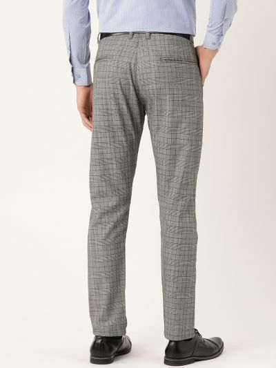 Sojanya (Since 1958) Men's Cotton Blend Black & Off White Checked Formal Trousers