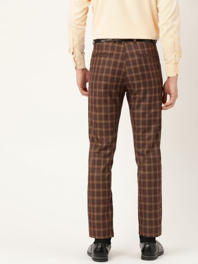 Sojanya (Since 1958) Men's Cotton Blend Brown & Mustard Checked Formal Trousers