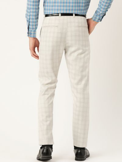 Sojanya (Since 1958) Men's Cotton Blend Cream & Grey Checked Formal Trousers