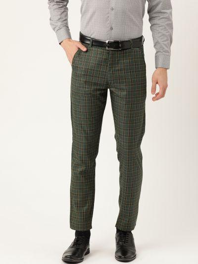 Sojanya (Since 1958) Men's Cotton Blend Dark Green & Yellow Checked Formal Trousers