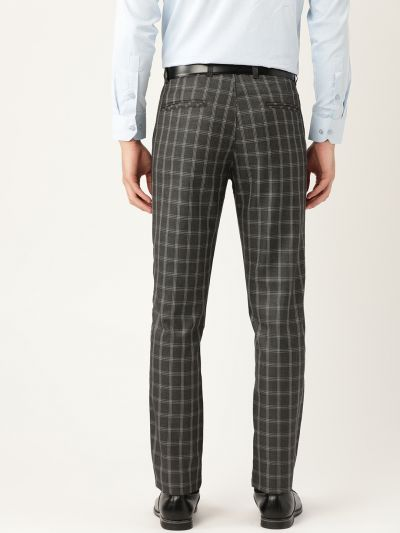 Sojanya (Since 1958) Men's Cotton Blend Charcoal Grey & Grey Checked Formal Trousers