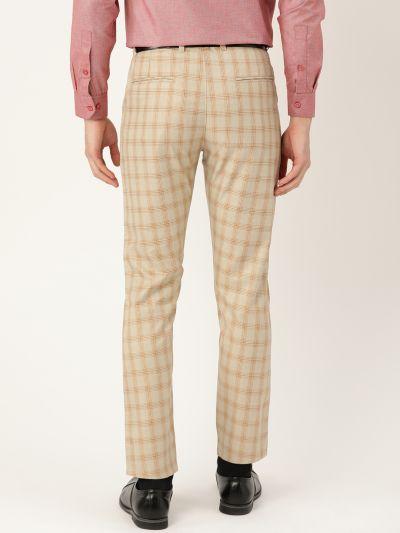 Sojanya (Since 1958) Men's Cotton Blend Pista Green & Mustard Checked Formal Trousers