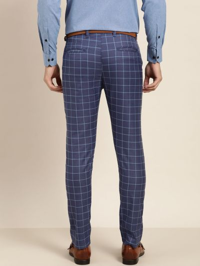 Sojanya (Since 1958) Men's Cotton Blend Royal Blue & Blue Checked Formal Trousers