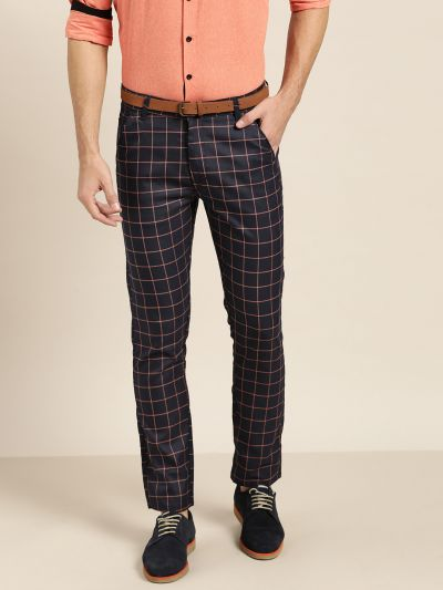 Sojanya (Since 1958) Men's Cotton Blend Navy Blue & Red Checked Formal Trousers