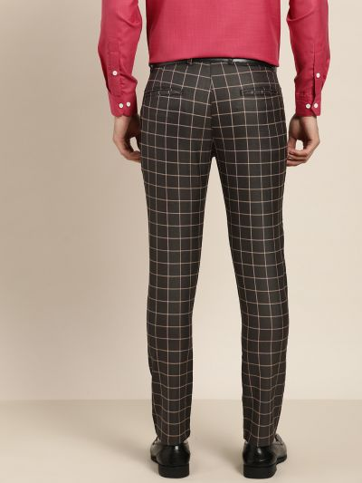 Sojanya (Since 1958) Men's Cotton Blend Black & Beige Checked Formal Trousers