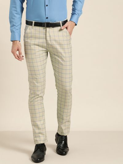 Sojanya (Since 1958) Men's Cotton Blend PistaGreen & Blue Checked Formal Trousers