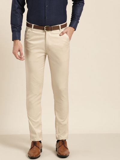 Sojanya (Since 1958) Men's Cotton Blend Beige Solid Formal Trousers