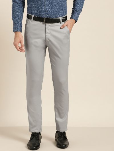 Sojanya (Since 1958) Men's Cotton Blend Grey Solid Formal Trousers