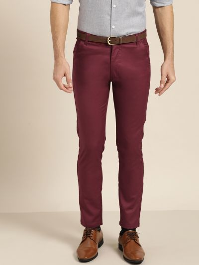 Sojanya (Since 1958) Men's Cotton Blend Burgundy Solid Formal Trousers