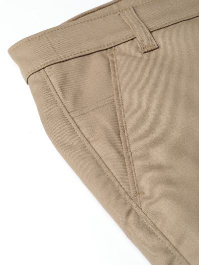 Sojanya (Since 1958) Men's Cotton Blend Khaki Solid Formal Trousers