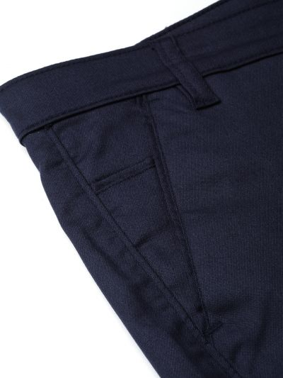 Sojanya (Since 1958) Men's Cotton Blend Navy Blue Solid Formal Trousers