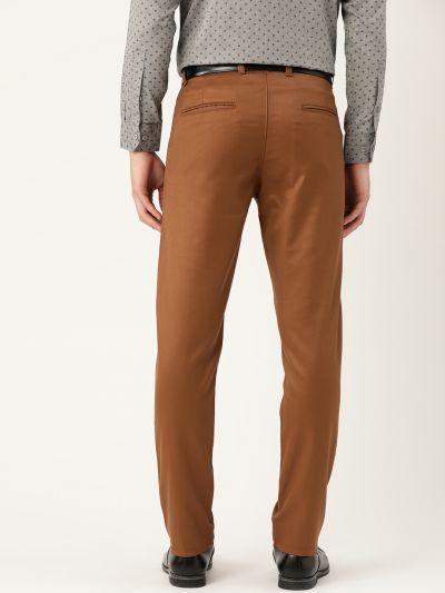 Sojanya (Since 1958) Men's Cotton Blend Dark Brown Solid Formal Trousers