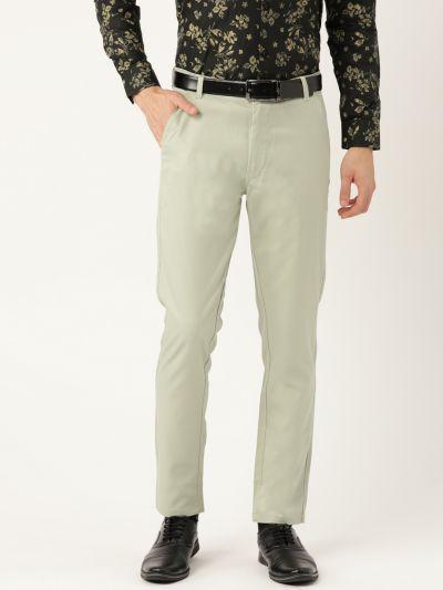 Sojanya (Since 1958) Men's Cotton Blend Pista Green Solid Formal Trousers