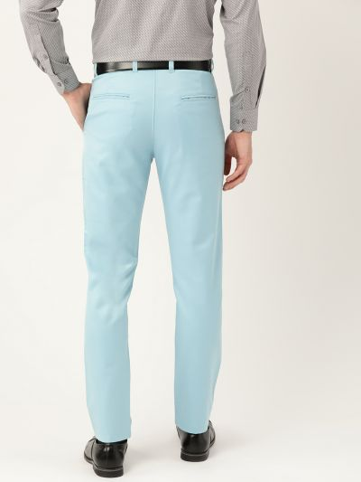 Sojanya (Since 1958) Men's Cotton Blend Sky Blue Solid Formal Trousers