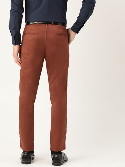 Sojanya (Since 1958) Men's Cotton Blend Rust Solid Formal Trousers