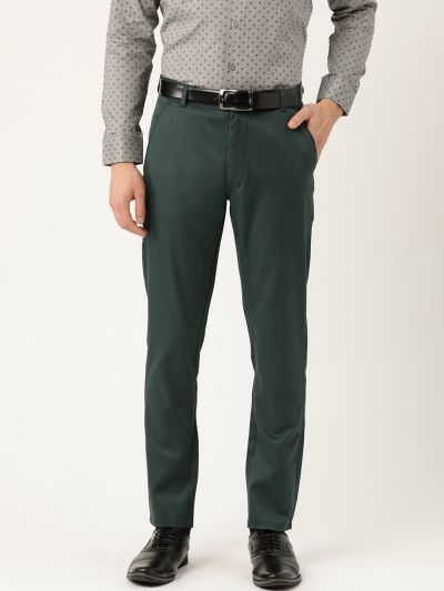 Sojanya (Since 1958) Men's Cotton Blend Bottle Green Solid Formal Trousers