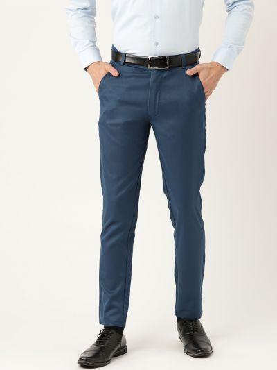 Sojanya (Since 1958) Men's Cotton Blend Teal Blue Solid Formal Trousers