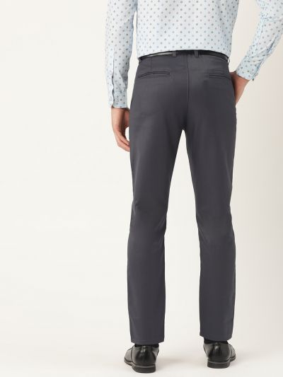 Sojanya (Since 1958) Men's Cotton Blend Charcoal Grey Solid Formal Trousers