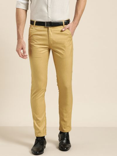 Sojanya (Since 1958) Men's Cotton Blend Gold & OffWhite Striped Formal Trousers