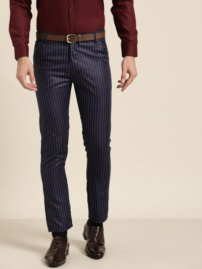 Sojanya (Since 1958) Men's Cotton Blend NavyBlue & OffWhite Striped Formal Trousers