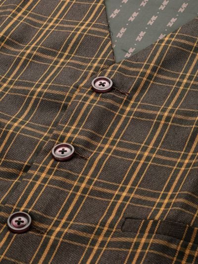 Sojanya (Since 1958), Mens Cotton Blend Dark Brown & Mustard Checked WaistCoat