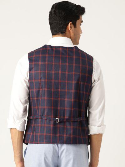 Sojanya (Since 1958), Mens Cotton Blend Navy Blue & Red Checked WaistCoat