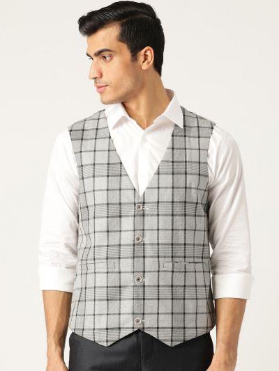 Sojanya (Since 1958), Mens Cotton Blend Grey & Black Checked WaistCoat