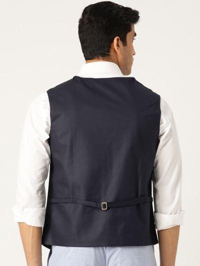 Sojanya (Since 1958), Mens Cotton Blend Navy Blue Solid WaistCoat