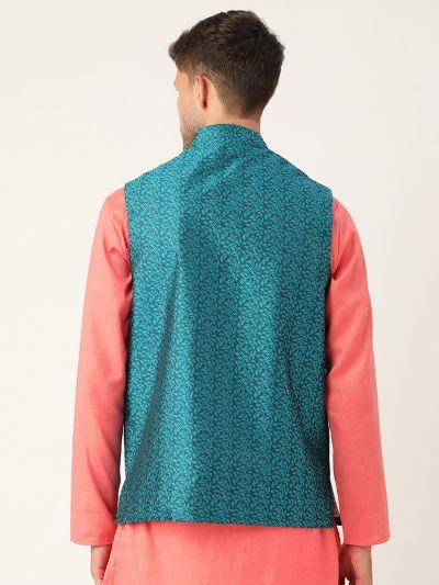 Sojanya (Since 1958), Men's Jacquard Silk Turquoise Blue Self Design ONLY Waistcoat