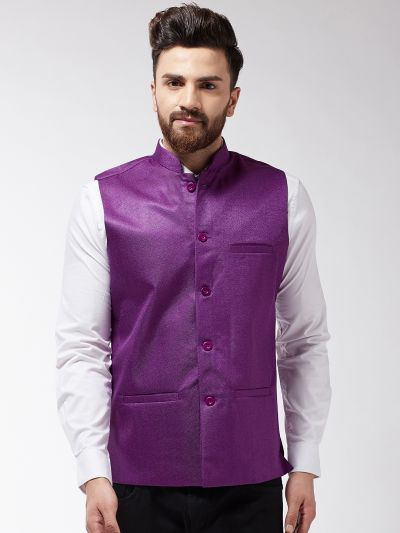 Sojanya (Since 1958) Men's Jute Cotton Purple ONLY Jacket