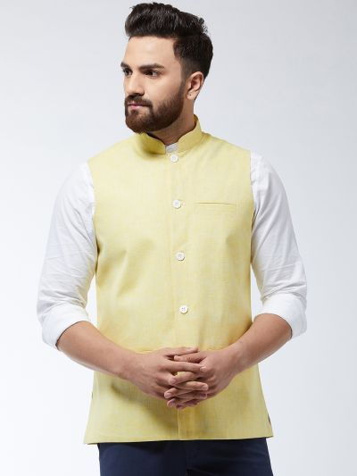 Sojanya (Since 1958) Men's Cotton Linen Blend Lemon Yellow Waist Coat