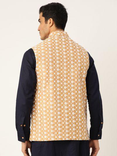 Sojanya (Since 1958), Men's Jacquard Silk Mustard Self Design ONLY Waistcoat