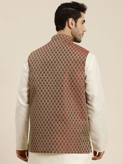 Sojanya (Since 1958), Men's Jacquard Silk Maroon Self Design ONLY Waistcoat