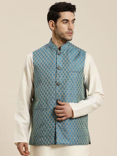 Sojanya (Since 1958), Men's Jacquard Silk Peacock Blue Self Design ONLY Waistcoat