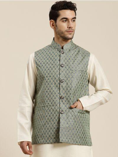 Sojanya (Since 1958), Men's Jacquard Silk Teal Green Self Design ONLY Waistcoat