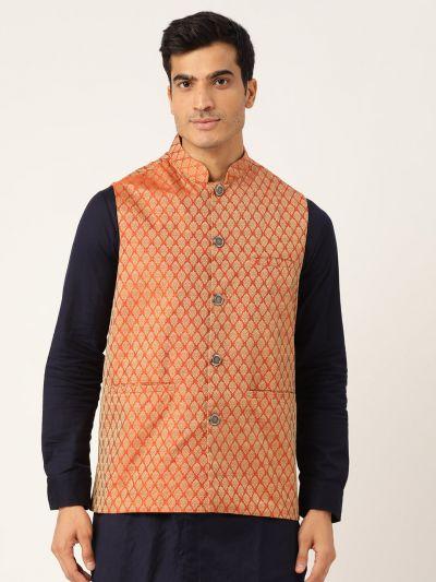 Sojanya (Since 1958), Men's Jacquard Silk Orange Self Design ONLY Waistcoat