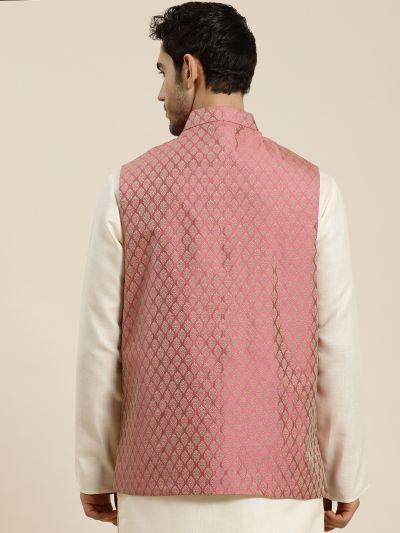 Sojanya (Since 1958), Men's Jacquard Silk Pink Self Design ONLY Waistcoat