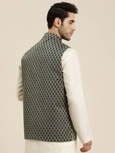 Sojanya (Since 1958), Men's Jacquard Silk Dark Green Self Design ONLY Waistcoat