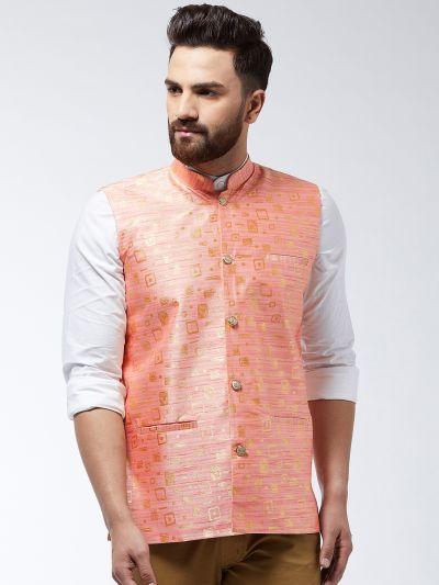 Sojanya (Since 1958) Men's Jacquard Silk Peach Designer Waist Coat