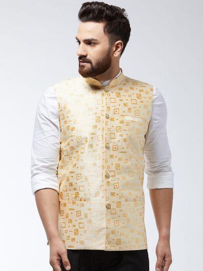 Sojanya (Since 1958) Men's Jacquard Silk Beige Designer Waist Coat