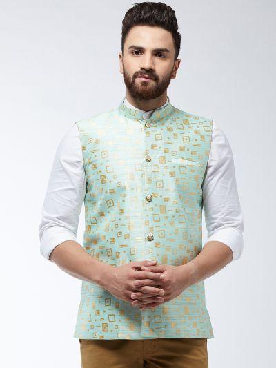 Sojanya (Since 1958) Men's Jacquard Silk Sea Green Designer Waist Coat