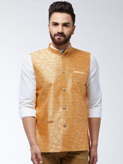 Sojanya (Since 1958) Men's Jacquard Silk Mustard Designer Waist Coat